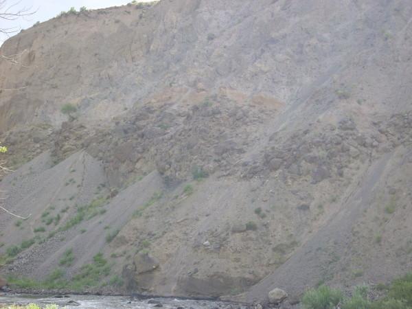 Landslide debris deposits