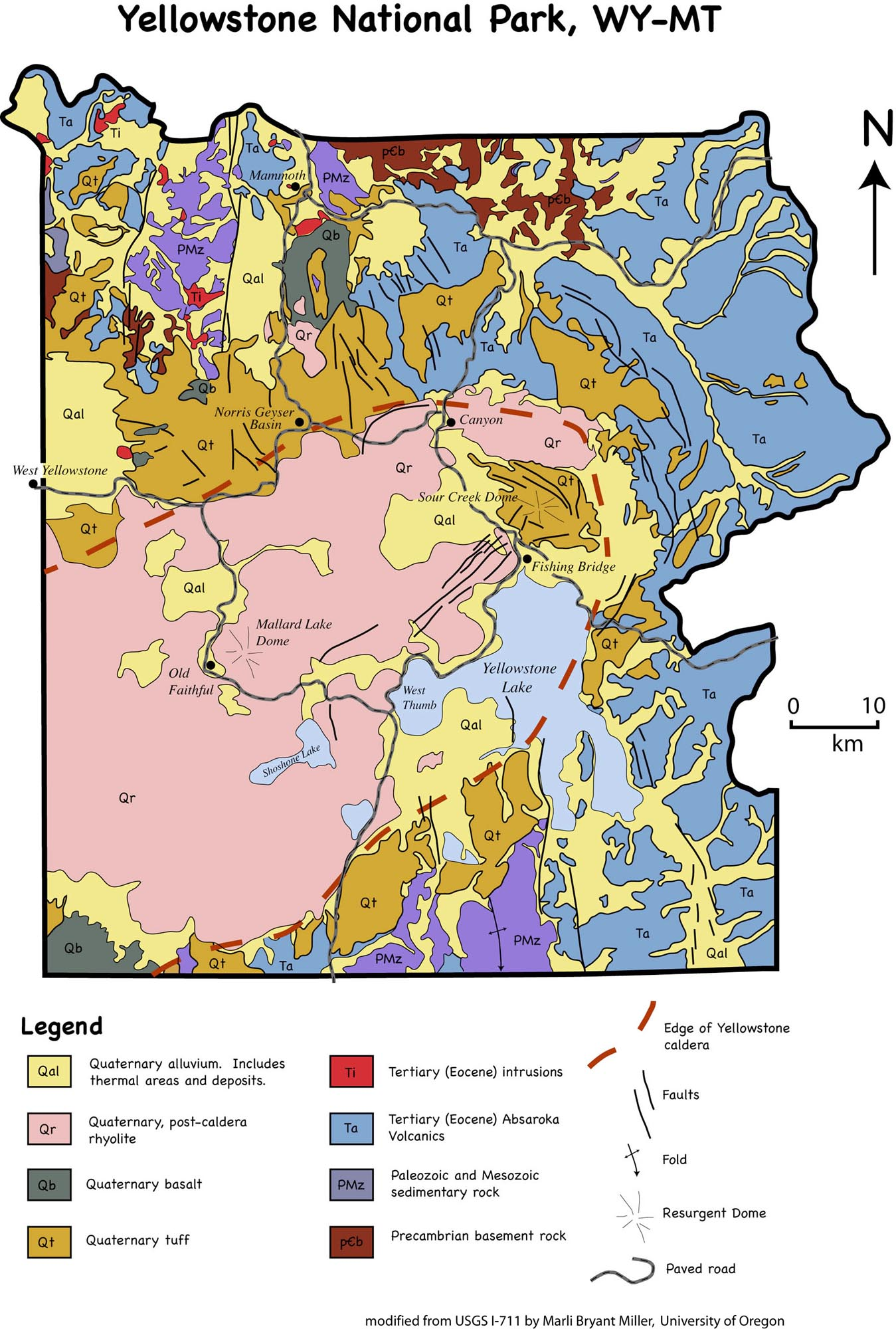 Geological map of Yellowstone
