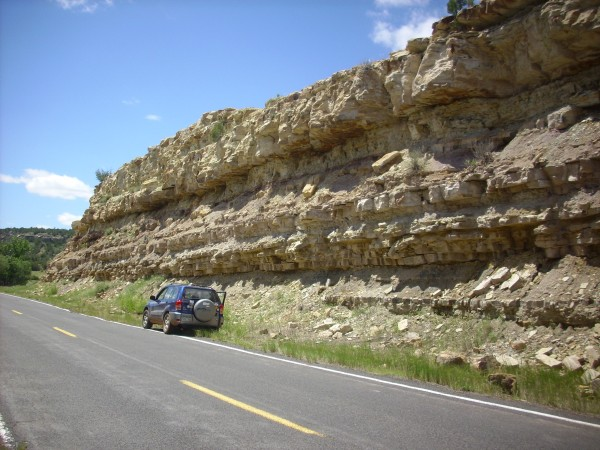 Road cut in Purgatoire Sandstone