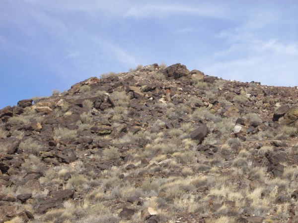 Top of JA volcano showing oxidized basalt