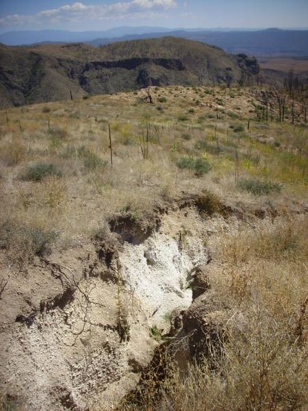 El Cajete           Pumice in gully