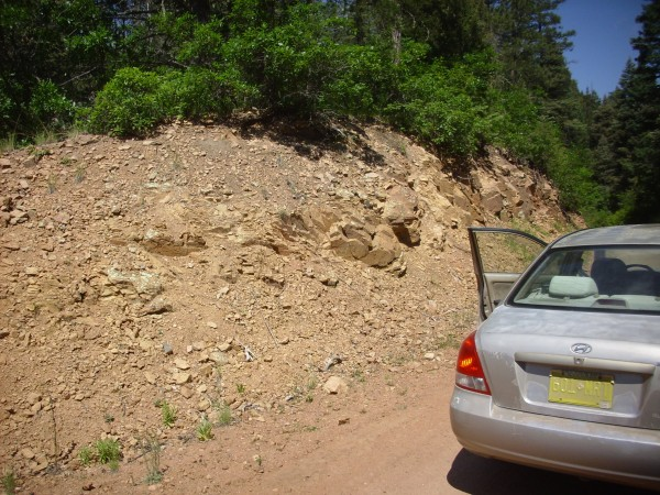 Joaquin clasts in road cut